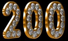 Numeral 200 dourado incrusted com diamantes Imagens de Stock