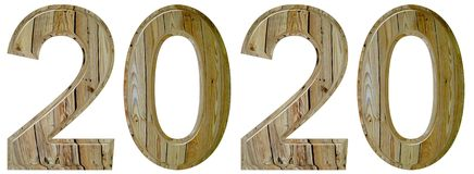 Numeral 2020 with an abstract pattern of a wooden surface, isola. Ted on white background, 3d render Royalty Free Stock Images