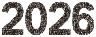 Numeral 2026 from black a natural charcoal, isolated on white ba Stock Image