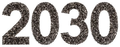 Numeral 2030 from black a natural charcoal, isolated on white ba Stock Images
