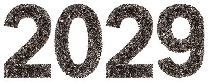 Numeral 2029 from black a natural charcoal, isolated on white ba. Ckground stock photo