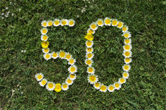 Numeral 50 of blossoms in a meadow Royalty Free Stock Images