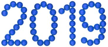 Numeral 2019 from blue decorative balls, isolated on white backg Royalty Free Stock Images