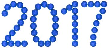 Numeral 2017 from blue decorative balls, isolated on white backg Stock Photos