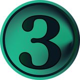 Numeral button-three. Green numeral button-three on white Stock Photography