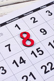 Numeral 8 and calendar. International Women`s day Stock Images