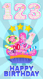 Numeral candles on the cake at the celebration for baby's birthday and sweet cupcake vector set illustration. One, two, three colorful numeral candles on the Stock Images