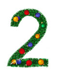 Numeral from christmas decoration - 2 Royalty Free Stock Photography