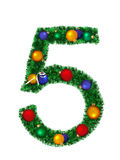 Numeral from christmas decoration - 5. Numeral from christmas decoration isolated on a white background - 5 Royalty Free Stock Photos