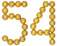 Numeral 54, cinquenta e quatro, das bolas decorativas, isoladas no branco Fotos de Stock Royalty Free