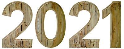 Numeral 2021 com um teste padrão abstrato de uma superfície de madeira, isola Imagem de Stock Royalty Free