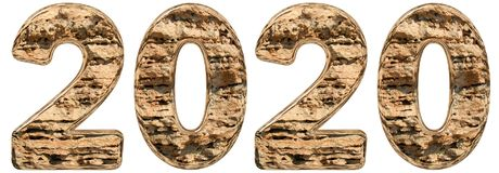 Numeral 2020 com uma superfície abstrata de uma pedra calcária natural, Imagens de Stock Royalty Free