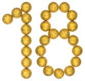 Numeral 18, dezoito, das bolas decorativas, isoladas em b branco Fotografia de Stock Royalty Free