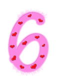 Numeral do dia do Valentim - 6 Fotografia de Stock Royalty Free