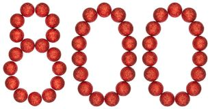 Numeral 800, eight hundred, from decorative balls, isolated on w Royalty Free Stock Images