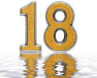 Numeral 18, eighteen, reflected on the water surface, isolated. On white, 3d render Stock Images