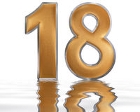 Numeral 18, eighteen, reflected on the water surface,  o. N  white, 3d render Stock Image