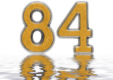 Numeral 84, eighty four, reflected on the water surface, isolate. D on white, 3d render Stock Image
