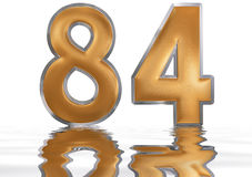 Numeral 84, eighty four, reflected on the water surface, isolate. Numeral 84, eighty four, reflected on the water surface,  on  white, 3d render Royalty Free Stock Photo