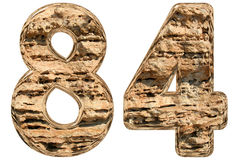 Numeral 84, eighty four,  on white, natural limestone, 3. D illustration Royalty Free Stock Photography