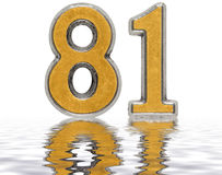 Numeral 81, eighty one, reflected on the water surface, isolated Stock Photo