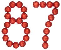 Numeral 87, eighty seven, from decorative balls, isolated on whi. Te background Stock Images