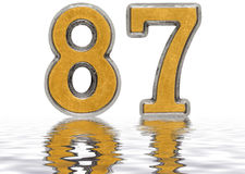 Numeral 87, eighty seven, reflected on the water surface, isolat. Numeral 87, eighty seven, reflected on the water surface, on white, 3d render vector illustration