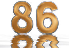 Numeral 86, eighty six, reflected on the water surface,. On white, 3d render Stock Illustration