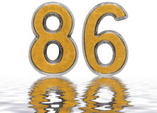 Numeral 86, eighty six, reflected on the water surface,. On white, 3d render Vector Illustration
