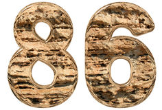 Numeral 86, eighty six,  on white, natural limestone, 3d. Illustration Stock Photo