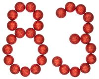Numeral 83, eighty three, from decorative balls, isolated on whi. Te background Stock Image