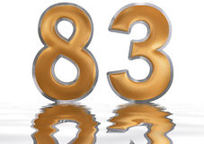 Numeral 83, eighty three, reflected on the water surface, isolat Royalty Free Stock Photography