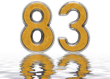 Numeral 83, eighty three, reflected on the water surface Stock Photography