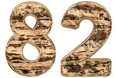 Numeral 82, eighty two,  on white, natural limestone, 3d. Illustration Stock Images