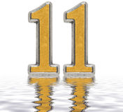 Numeral 11, eleven, reflected on the water surface, isolated. On white, 3d render Royalty Free Stock Photo