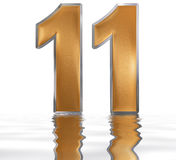 Numeral 11, eleven, reflected on the water surface,  on. White, 3d render Royalty Free Stock Image