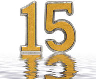 Numeral 15, fifteen, reflected on the water surface,  on Royalty Free Stock Photos