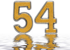 Numeral 54, fifty four, reflected on the water surface, isolated. On white, 3d render Royalty Free Stock Photo