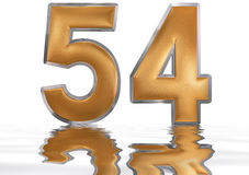 Numeral 54, fifty four, reflected on the water surface,. On  white, 3d render Royalty Free Stock Photos