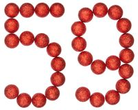 Numeral 59, fifty nine, from decorative balls, isolated on white. Background Royalty Free Stock Images