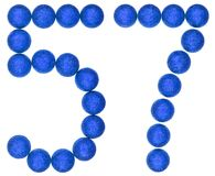 Numeral 57, fifty seven, from decorative balls, isolated on whit. E background Royalty Free Stock Photo