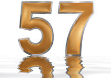 Numeral 57, fifty seven, reflected on the water surface, isolate Stock Images