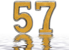 Numeral 57, fifty seven, reflected on the water surface Royalty Free Stock Image