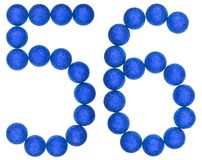 Numeral 56, fifty six, from decorative balls, isolated on white. Background Royalty Free Stock Images