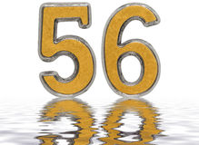 Numeral 56, fifty six, reflected on the water surface, isolated. On white, 3d render Royalty Free Stock Photo