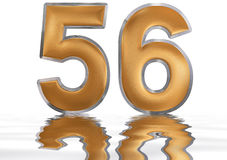 Numeral 56, fifty six, reflected on the water surface,. On white, 3d render vector illustration
