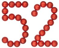 Numeral 52, fifty two, from decorative balls, isolated on white. Background Royalty Free Stock Photography