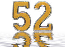 Numeral 52, fifty two, reflected on the water surface,. On white, 3d render Royalty Free Stock Images