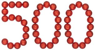 Numeral 500, five hundred, from decorative balls, isolated on wh. Ite background Royalty Free Stock Photography