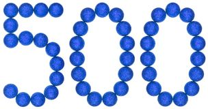 Numeral 500, five hundred, from decorative balls, isolated on wh Stock Image